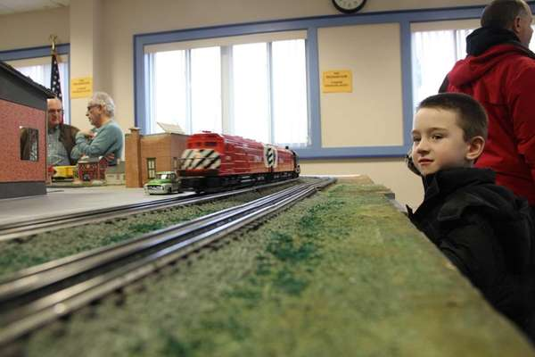 Alex Goodenough, 6, of Farmingdale watches as a