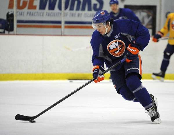 Travis Hamonic skates during the New York Islanders