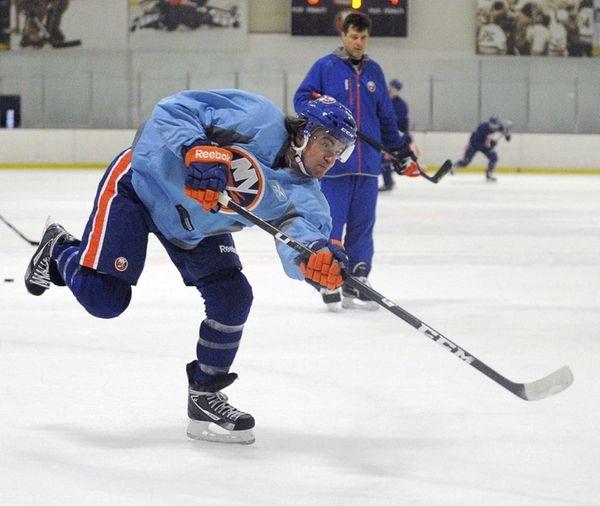 Michael Grabner shoots during the New York Islanders