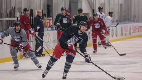Rick Nash skates during Rangers training camp at
