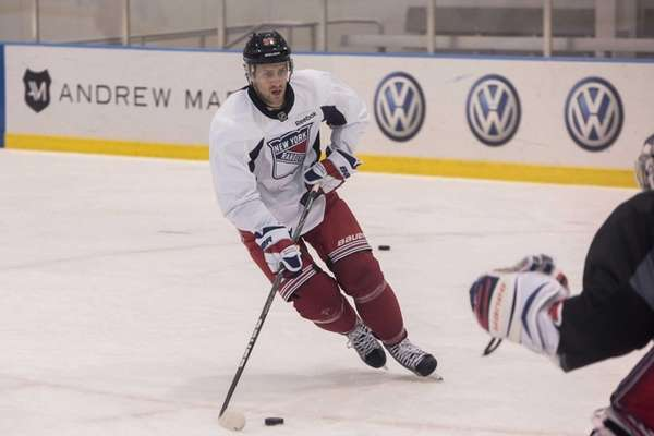 Matt Gilroy skates during Rangers training camp at