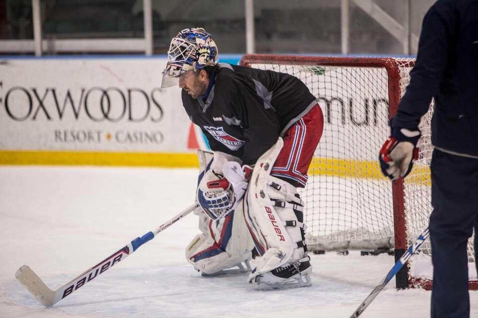 Henrik Lundqvist stands in the net during Rangers