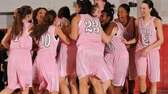 Long Island Lutheran girls basketball teammates celebrate after