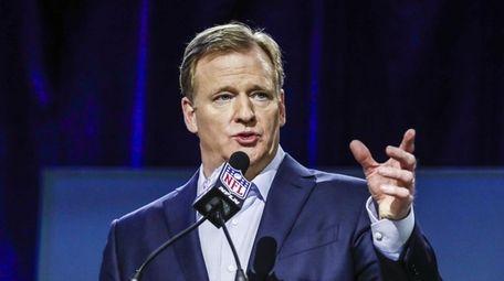 NFL Commissioner Roger Goodell speaks at a media