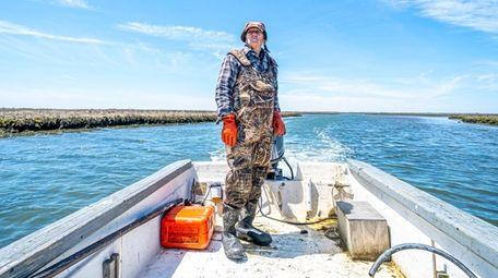 Ben Sohm of Amity Harbor on his skiff