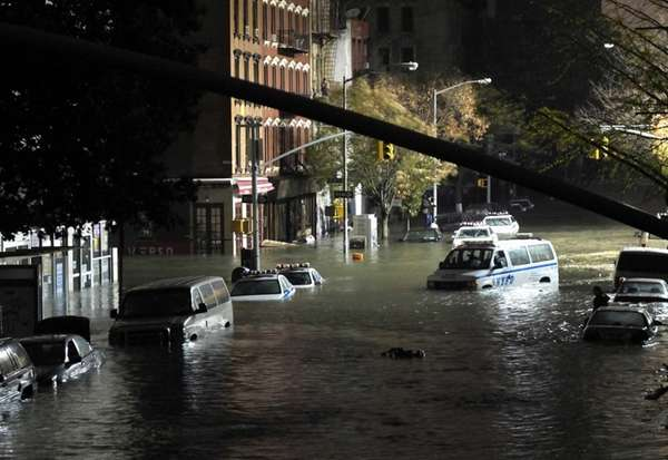 A view of submerged cars on Avenue C
