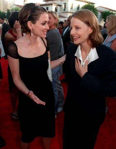From left, Winona Ryder mingles with Jodie Foster