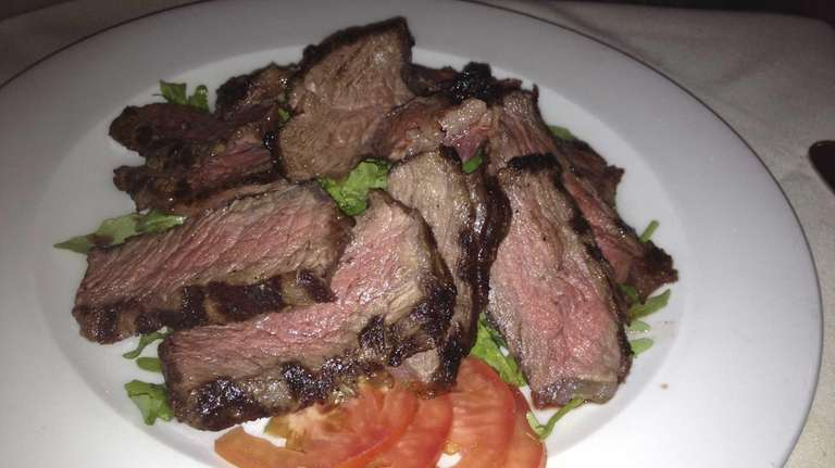 Sliced sirloin steak at the Basil Leaf Cafe