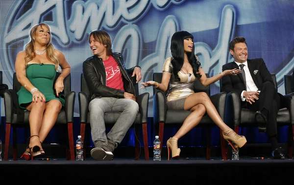 From left, Mariah Carey, Keith Urban, Nicki Minaj