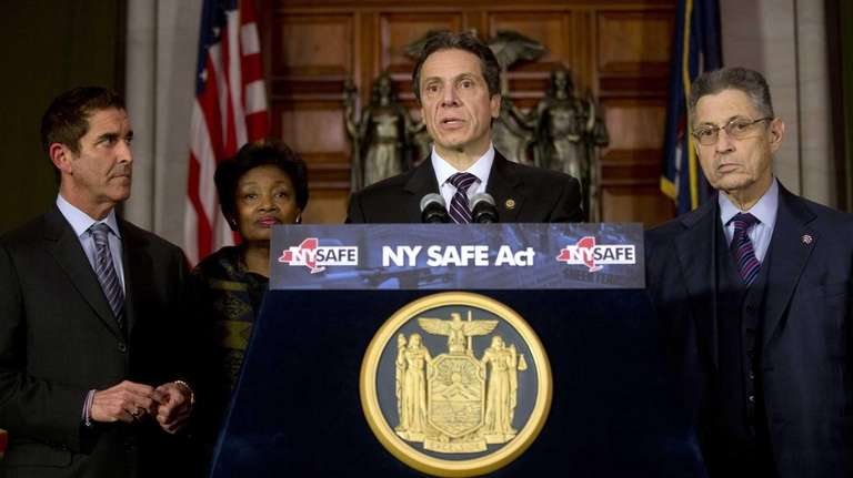 New York Gov. Andrew Cuomo speaks after signing