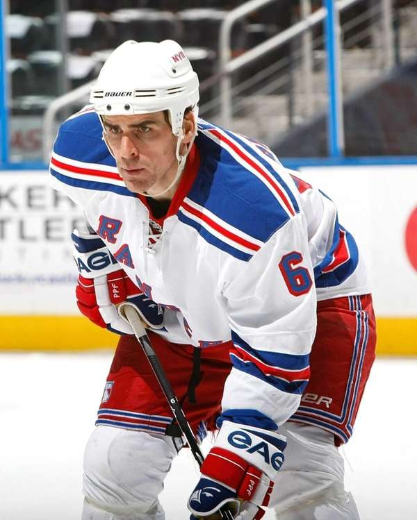 Wade Redden of the New York Rangers plays