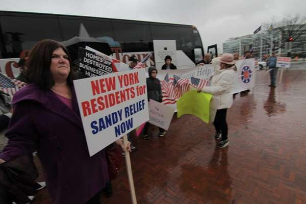 Long Island residents arrive in Washington before a
