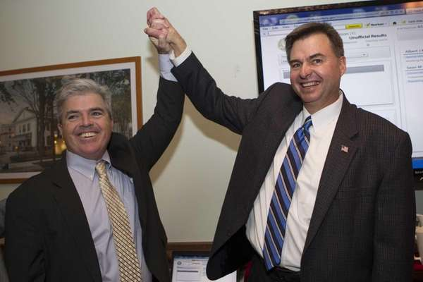 Democrat Al Krupski and County Executive Steve Bellone