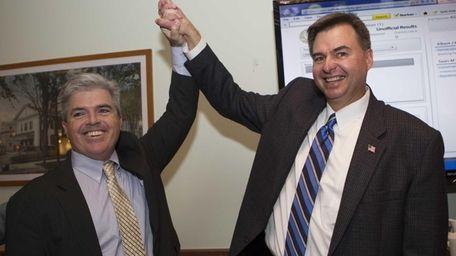 Democrat Al Krupski and County Executive Steve Bellone