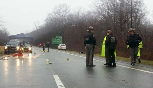 New York State Police investigate a fatal accident