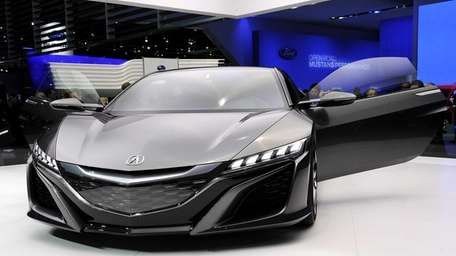 The 2015 Acura NSX concept vehicle is displyed