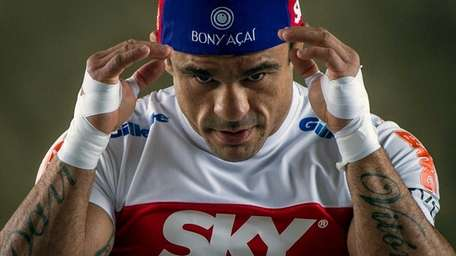 Brazil's Vitor Belfort at open workouts in a