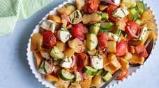 Bread cubes soak up the flavors of slow-roasted