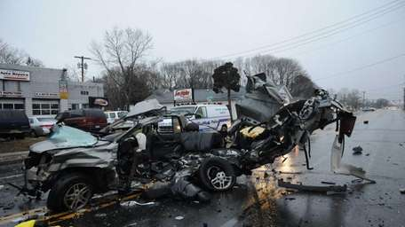 Suffolk County police investigate the fatal accident on