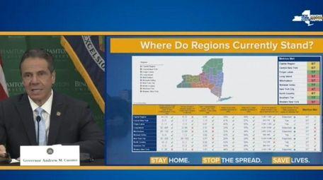 Gov. Andrew M. Cuomo said each region's control