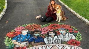 """Kara Hoblin, 30, of Cutchogue draws a """"thank"""
