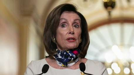 House Speaker Nancy Pelosi of California delivers a