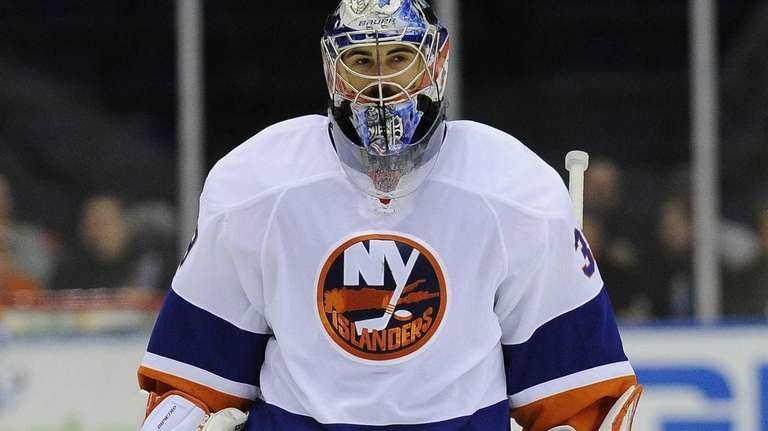 Islanders' Rick DiPietro is seen on the ice