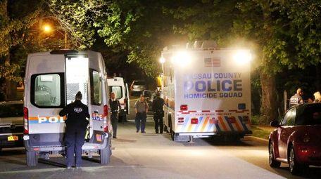 Nassau County police investigate the shooting on Langdon