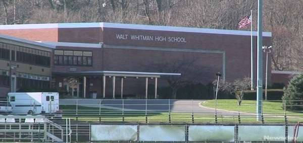 An exterior view of Walt Whitman High School