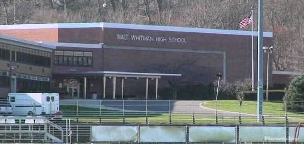 An exterior view of Walt Whitman High School