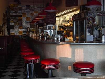 The empty Glen's Dinette in the Village of