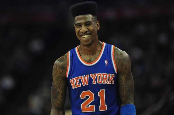 Iman Shumpert looks on during a game against