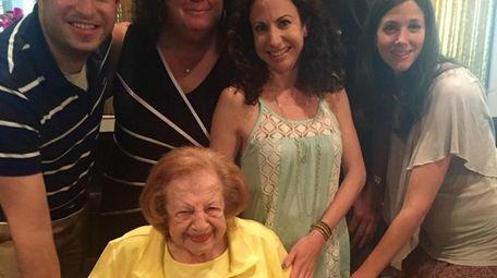 Roberta Landers, center, enjoying the company of her