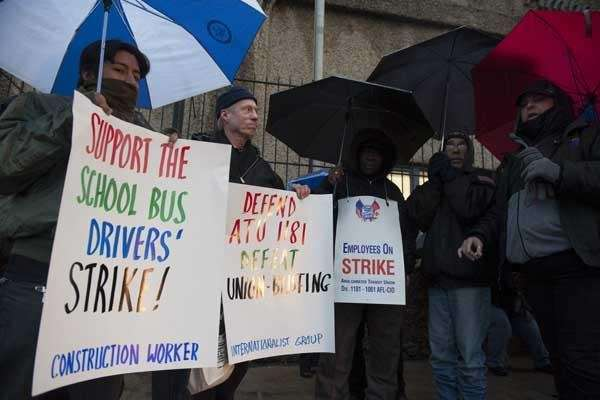 School bus drivers and matrons strike in front