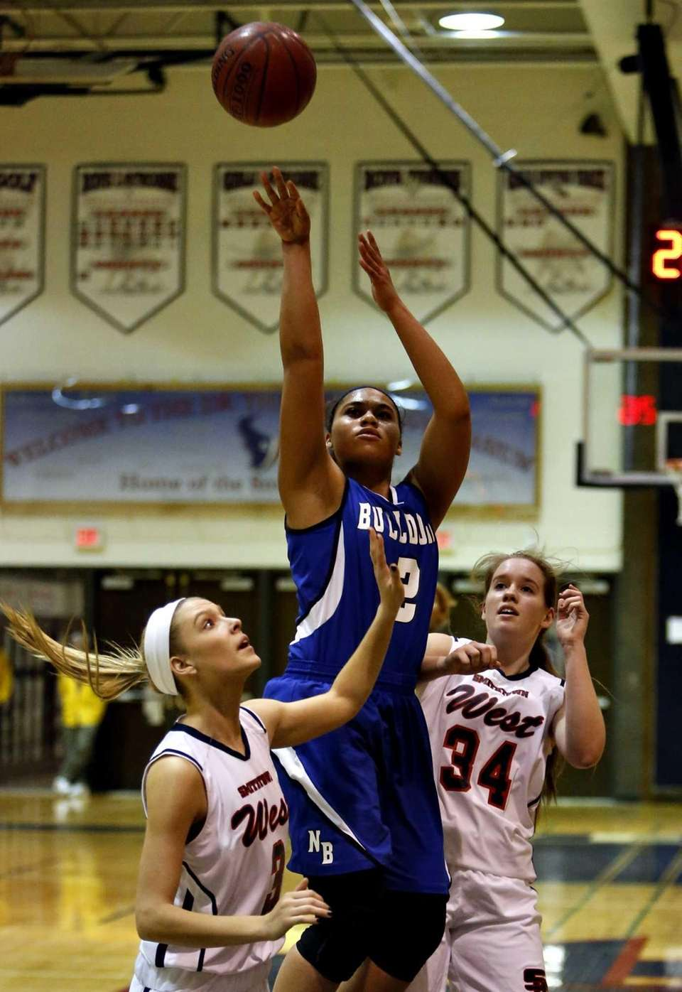 North Babylon's Brianna Jones (2) takes a shot
