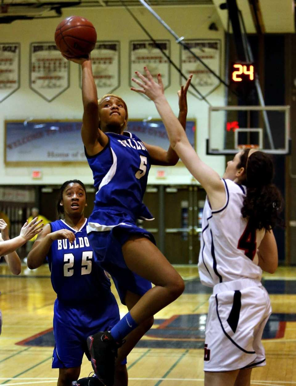 North Babylon's Makeda Nicholas (5) puts up a