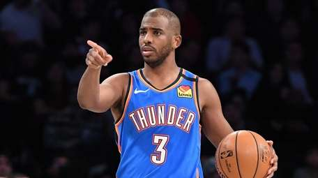 Oklahoma City Thunder guard Chris Paul gestures during