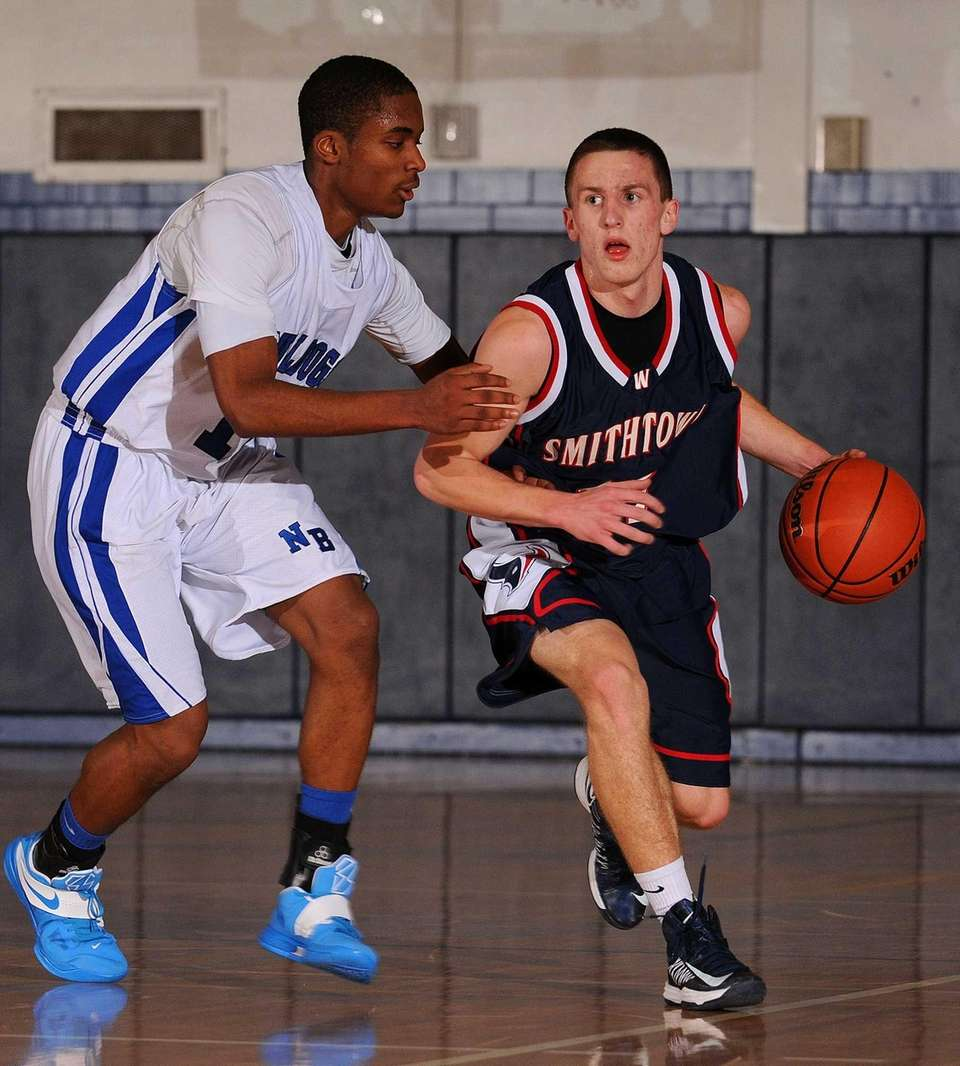 Smithtown West guard Ryan Hickey, right, gets pressured