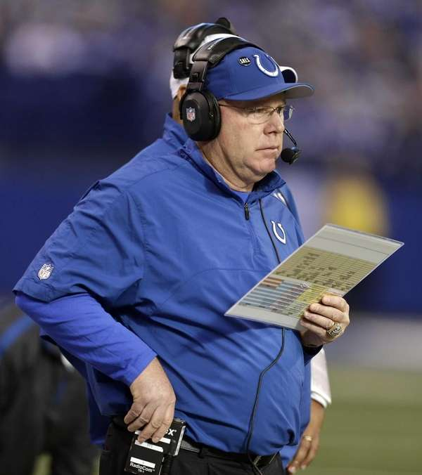 Indianapolis Colts offensive coordinator Bruce Arians watches during