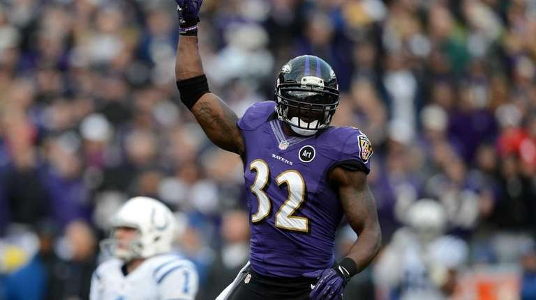 James Ihedigbo of the Baltimore Ravens reacts after