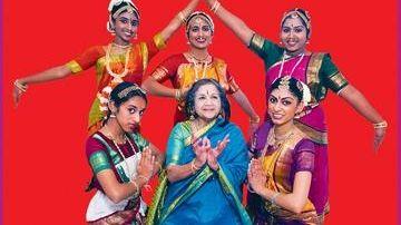 Kamala Lakshmi Narayanan with students, clockwise from bottom