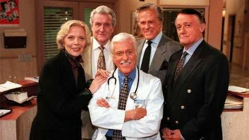 From left, Barbara Bain, Patrick McNee, Dick Van