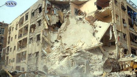 Extensive damage was done after a rocket slammed