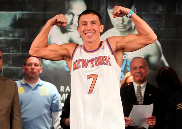 Gennady Golovkin at weigh-ins for his WBA/IBO middleweight