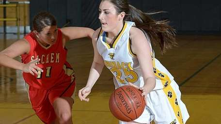 Commack's Samantha Lane, right, drives hard to the
