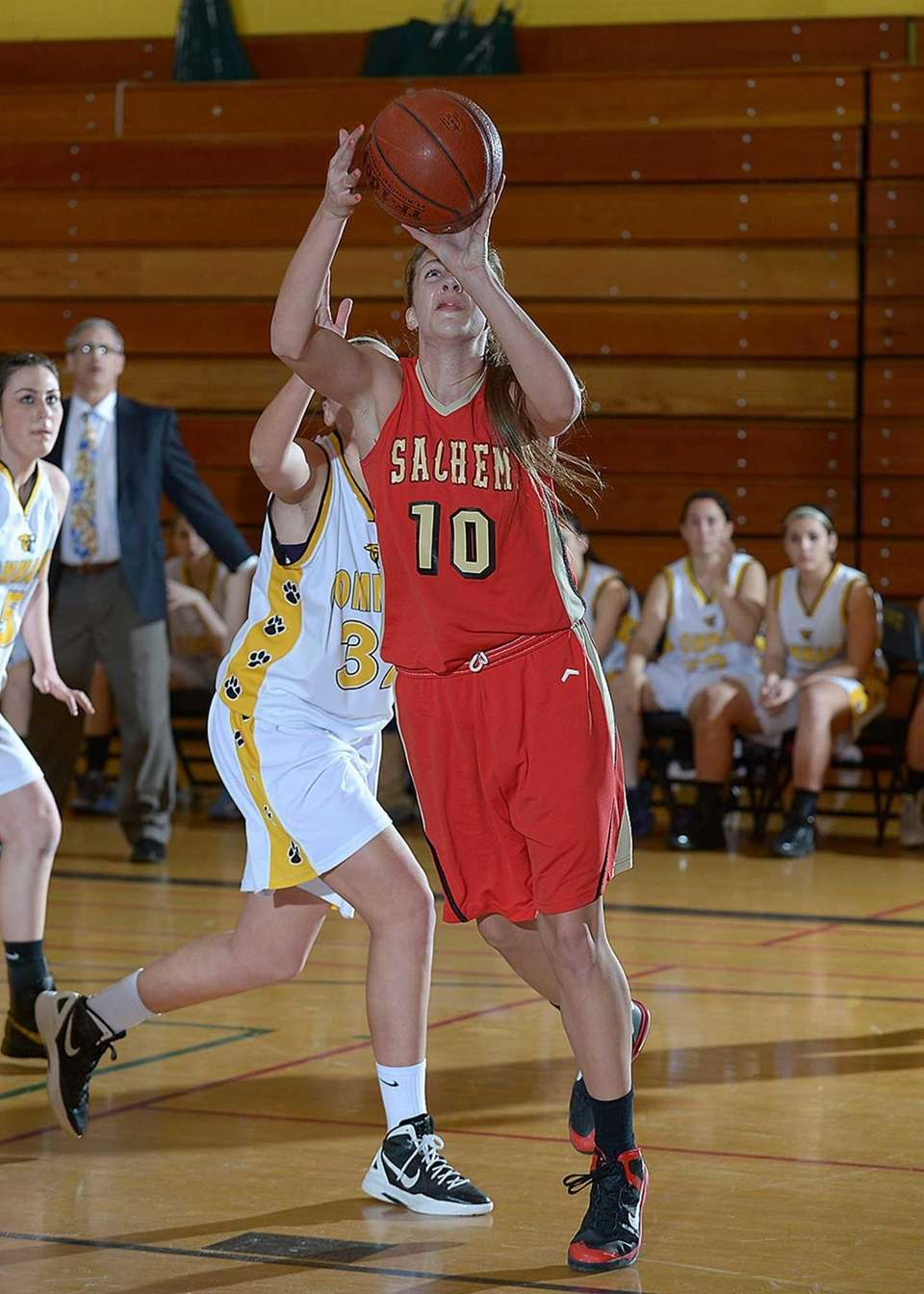 Sachem East's Kathleen Everson goes up for a