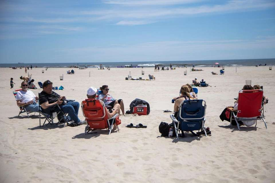 Community Spacing at Jones Beach on Saturday, May