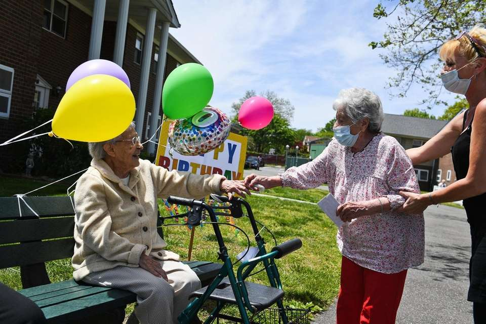 Millie Alberti, 100, of Wantagh, recieves a birthday