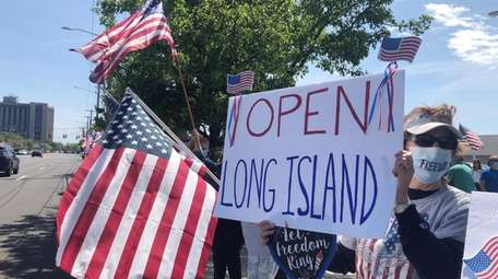 Protesters demanding the reopening of Long Island's economy