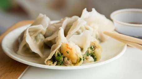 Delicate dumplings are stuffed with shrimp, pork and